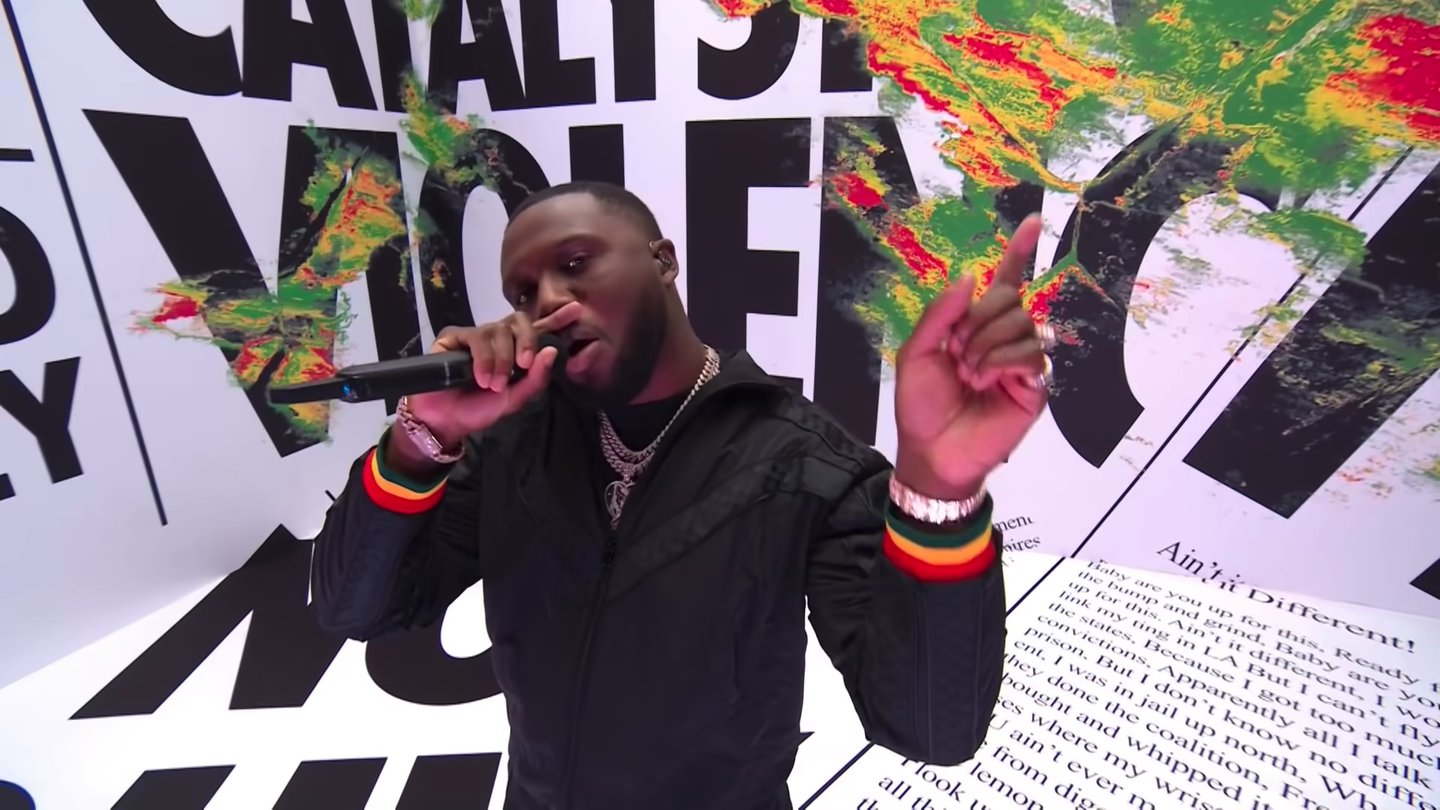 Virgil Abloh's set design for Headie One's Brits performance calls out drill music stereotypes